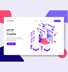landing page template of http cookie concept vector image