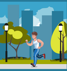 man runs in park vector image