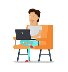 Man with laptop on sofa vector