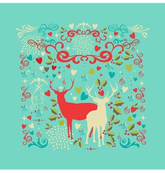 Merry Christmas reindeer shape and love icons vector