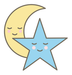 moon and star night kawaii comic characters vector image