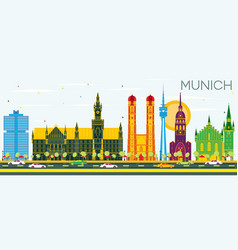 Munich germany skyline with color buildings and vector