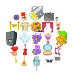 Music icons set cartoon style vector