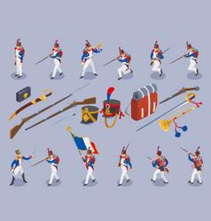 Napoleons grenadiers set isometric icons vector