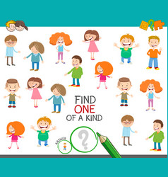 One a kind game with cartoon kids vector
