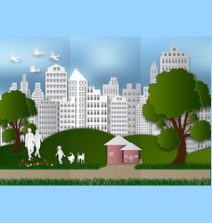 paper art of people and pets with city and tree vector image