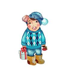 pig watercolor vector image