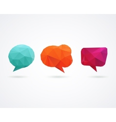 Polygonal geometric 3D speech bubbles set vector
