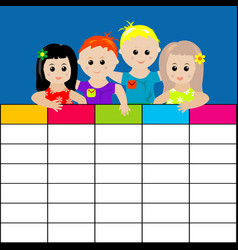 school timetable with kids vector image