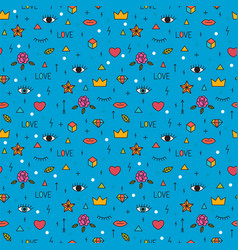 seamless pattern with eyes lips hearts and other vector image