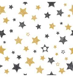 Seamless pattern with hand drawn stars vector