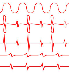 Seamless set of lines heartbeat vector