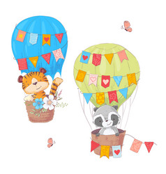 set cartoon cute animals lion and raccoon in a vector image