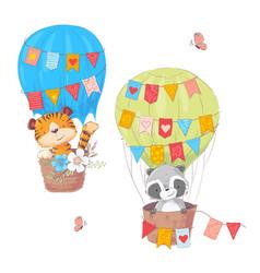 set cartoon cute animals lion and raccoon vector image