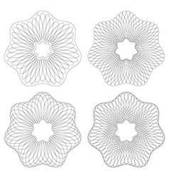 Set of 4 guilloche pattern rosette vector
