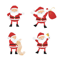 Set of cartoon santa clauses vector
