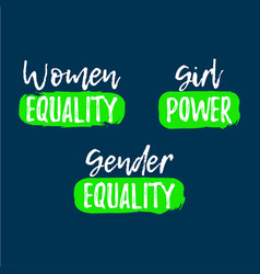 Set of gender equality label font with brush vector