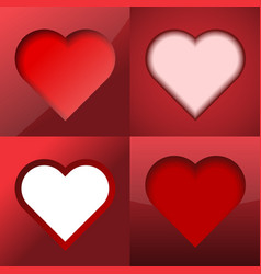 set of hearts on a red background vector image