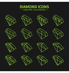 Set of line diamond web iconssymbolsign in vector