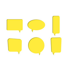 set of yellow paper cut out speech bubble icons vector image