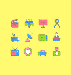 set simple line icons television vector image