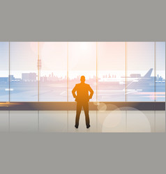 Silhouette man waiting for arrival in airport hall vector