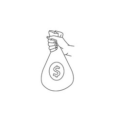 sketch man hand holding money bag vector image