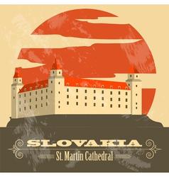 Slovakia landmarks Retro styled image vector image