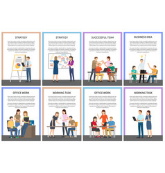 Straregy business idea office team work cards vector