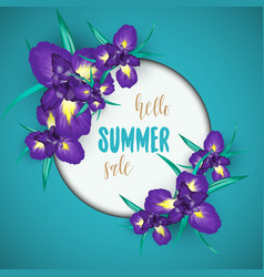 Summer sale background with iris flowers vector