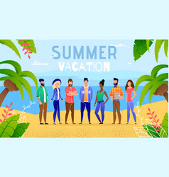 summer vacation ocean group people vector image