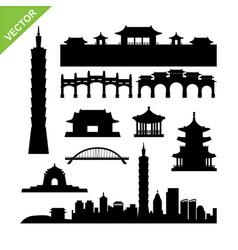 taiwan taipei landmark silhouettes vector image