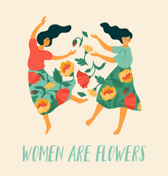 template with dancing women and flowers vector image