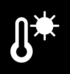 Thermometer and sun icon black and white vector