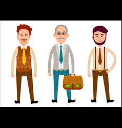 Three men of different looks flat cartoon theme vector