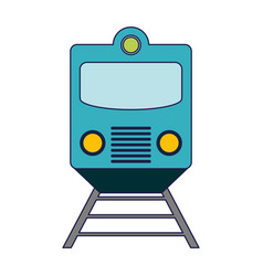 Train on rails frontview blue lines vector
