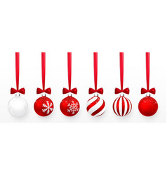 Transparent and red christmas ball with snow vector