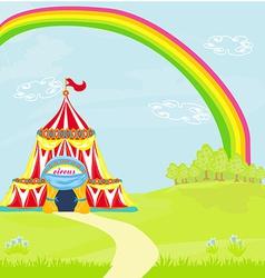 Travelling circus under rainbow vector