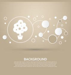 tree icon on a brown background with elegant vector image