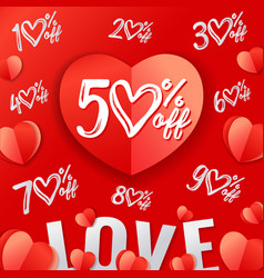 Valentines day sale red paper heart and text love vector