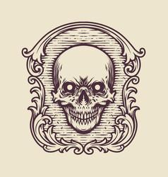 vintage frame skull engraving vector image