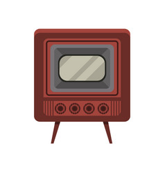 vintage old tv on a white vector image