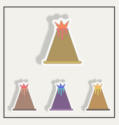 Volcano stickers set vector
