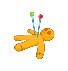 Voodoo doll icon cartoon style vector