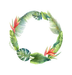 Watercolor frame tropical leaves and vector