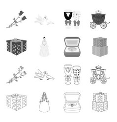 Wedding and attributes outlinemonochrome icons in vector
