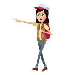 Woman walk backpack and cap vector
