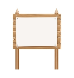 Wooden blank sign board with paper isolated on vector image