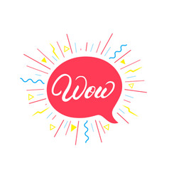 wow hand written lettering background vector image