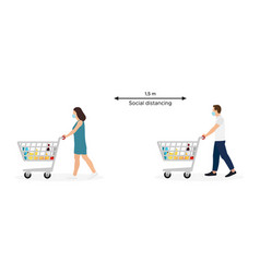 young man and woman masked pushing shopping carts vector image